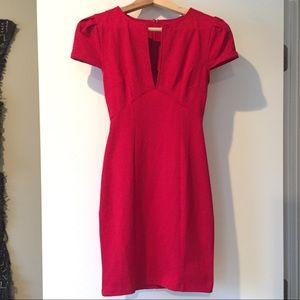 Red cap-sleeve, deep v mini dress